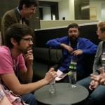 Dave Kellett, James Sutter, Tom Doyle, Jed Hartman, and Jenn chatting post-Hugos